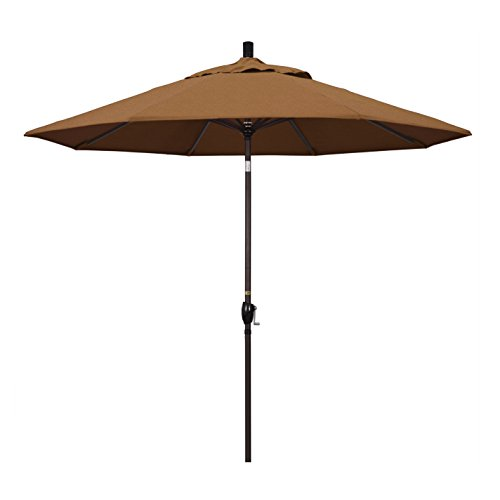 California Umbrella 9' Round Aluminum Market Umbrella, Crank Lift, Push Button Tilt, Bronze Pole, Sunbrella Teak