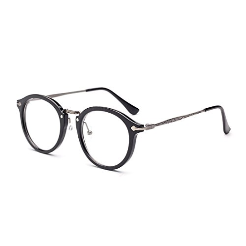 D.King Oversized Round Horn Rim Clear Lens Fashion Eye Glasses - Frames Best Face For Round Spectacle