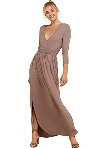 - Annabelle Women's Solid Print Maxi Dress Featuring V-Neck Wrap 3/4 Sleeve Empire Pleated with Slit and Pockets Taupe Grey Large D5241