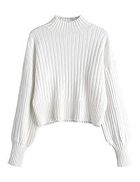 ZAFUL Women's Mock Turtleneck Sweater Drop Shoulder Long Sleeve Basic Sweater