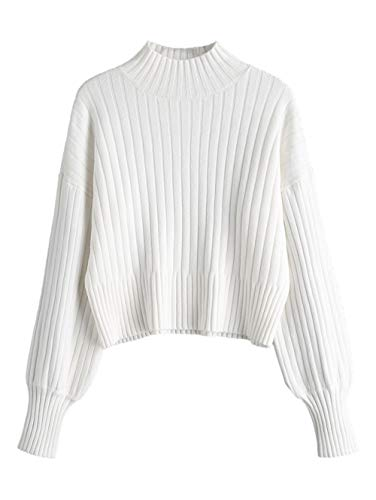 ZAFUL Women Ribbed Texture Loose Knit Sweater Casual High Neck Crop Top Knitwear(White)