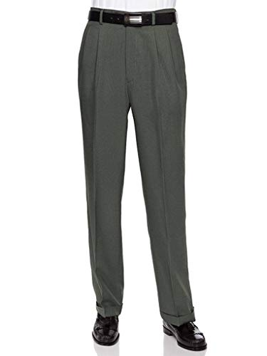 Tailored Straight Cut Pants - RGM Men's Work to Weekend Pleated Front Dress Pant Olive-Microfiber 34 Medium