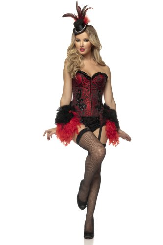Mystery House Women's Burlesque Showgirl, Red/Black,
