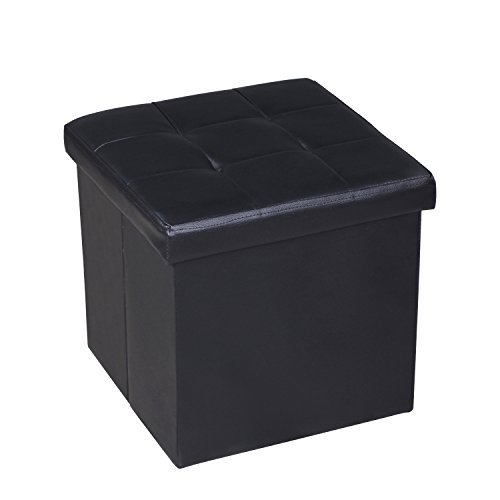 EPCTEK Storage Ottoma Leather Folding Stool,Storage Cube Basket Bins Organizer Containers, Coffee Table Cube, Camping Fishing Stool, Quick and Easy Assembly, Perfect for Child,15''x15''x15''Cube.(Black) by EPCTEK