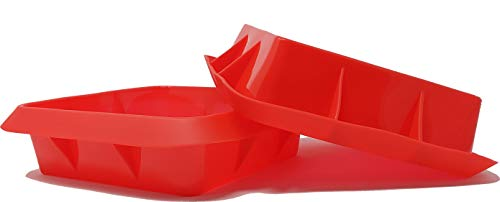 And Cup Bread - Seacoast Silicone Reusable Bread, Cake, Cupcake Trays and Muffin Baking Cups (2 Square Baking Pans, Red)
