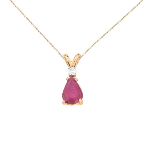 14k Yellow Gold Pear Shaped Ruby and Diamond Oval Pendant ()