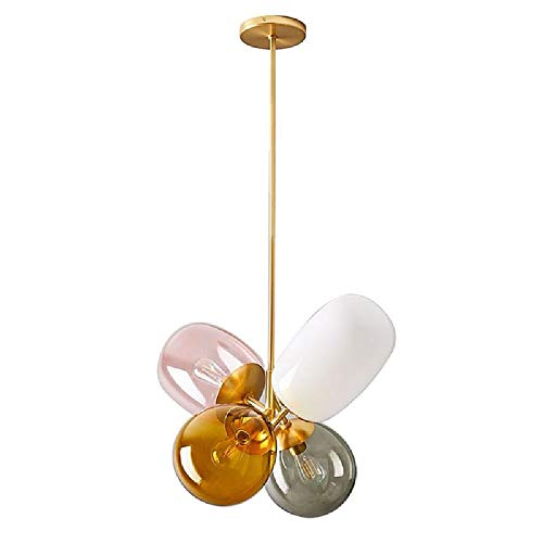 Wapipey Nordic Creative Glass Balloon Metal Chandelier 4-Light Modern Minimalist Bedroom Restaurant Droplight Personality Warm Romantic Dining Room Ceiling Hanging Lamp