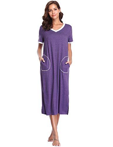 Lusofie Nightgowns for Women Short Sleeve Sleepwear Long Cotton Sleepshirt with Pocket S-XXL