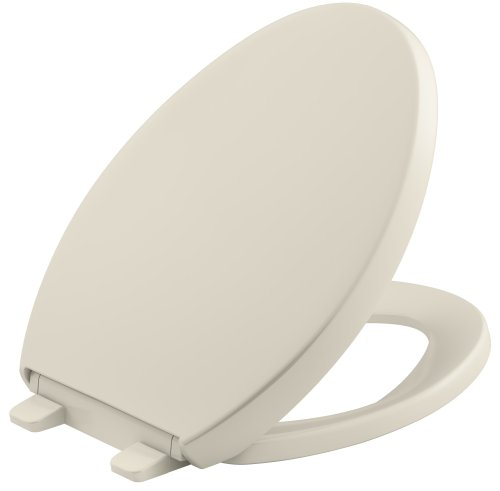 KOHLER K-4008-47 Reveal Quiet-Close with Grip-Tight Bumpers Elongated Toilet Seat, - 47 Toilet Seat Almond