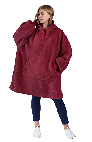 Catalonia Oversized Blanket Hoodie Sweatshirt with Zipper, Giant Faux Shearling Pullover | Large Front Pocket, Cozy…