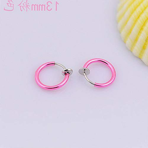 Campton 2Pcs Fake Nose Hoop Ring Clip On Septum Clicker Lip Earrings Piercing Jewelry | Model ERRNGS - 1111 |