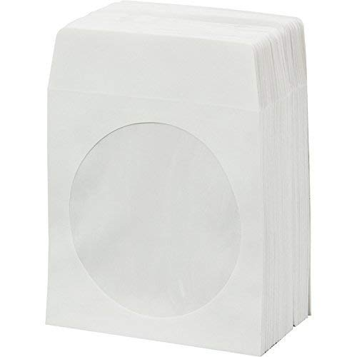 AcePlus 1,000 Pieces White Paper CD DVD Sleeves Envelope Holder with Clear Window and Flap, 80g Economy Weight.