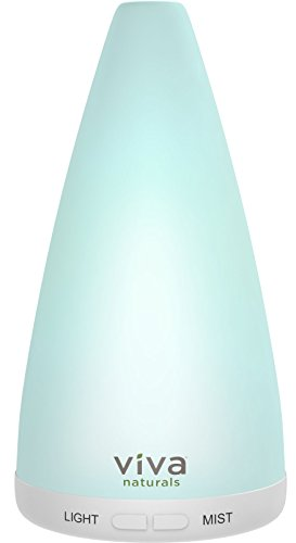 Viva Naturals Aromatherapy Essential Oil Diffuser - Vibrant Changeable LED Lights, Soothing Mist & Oxygen, Automatic Shut Off' (100 ml, White)