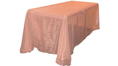 Coral Rectangular Mirror - LA Linen Sheer Organza Rectangular Tablecloth, Coral, 90 by 132
