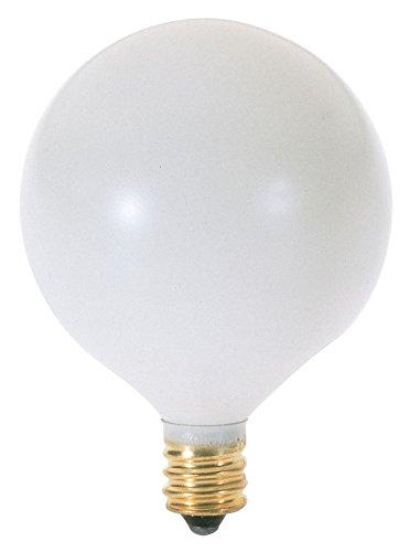 - Satco 25G16 1/2/W Incandescent Globe Light, 25W E12 G16 1/2, Satin White Bulb [Pack of 12]