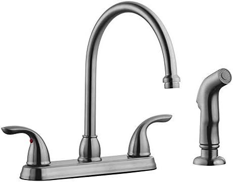 Design House 525089 Ashland 2-Handle Kitchen Faucet with Side Sprayer, Satin Nickel