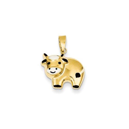 14k Yellow Gold 3D Enameled Cow Pendant - 14k Cow Pendant