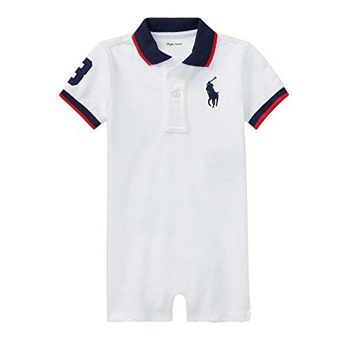 RALPH LAUREN Baby Boys Mesh Polo Shortalls Onesie Outfit Big Pony (White, 12 Months)