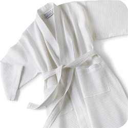 [해외]보카 테리 KW1146c 기본 와플 67 % 코튼 33 % 폴리 목욕 가운 - 화이트 - 원 사이즈 모두 적합/Boca Terry KW1146c Basic Waffle 67% Cotton 33% Poly Bathrob