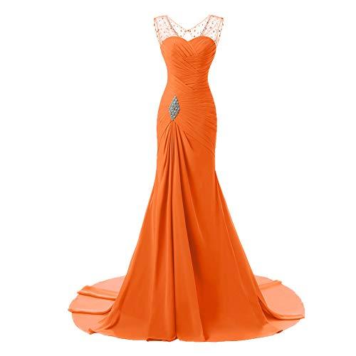 Busto Orange Para Noche Sirena Vestido Gasa Mujer Cuentas Con Cristal Plisado De Novia gZWU776n