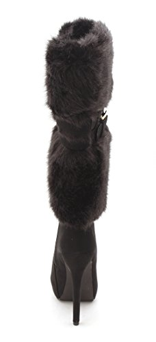 Fur Boots Black Womens Faux Mid Calf Fab JustFab Ivana Cold Weather Pointed Just Toe 7qUX7Fxp