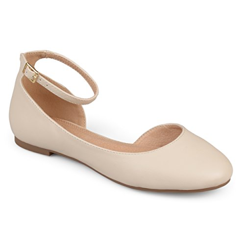 Journee Collection Womens Wide Width D'Orsay Ankle Strap Round Toe Flats Ivory, 8 Wide Width US from Journee Collection