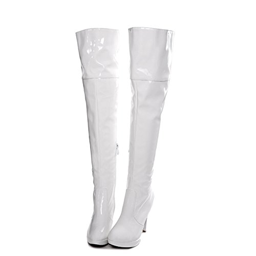 Pole the Dancing Womens Lucksender Sexy White Heel High Boots Over Knee 0xRXqw