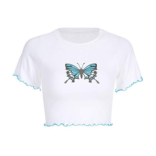 Women Butterfly Print White T-Shirt Knitted O-Neck Short Sleeve Bodycon Crop Top (L, White)