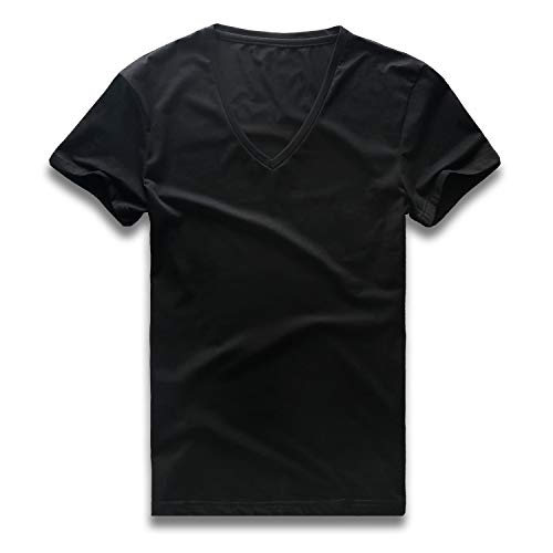Zecmos V Neck T Shirts Mens Short Sleeve Slim Fit Casual Basic Tee Cotton 437-Black ()