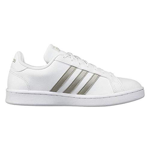 adidas Women's Grand Court Tennis Shoe, White/Platino Metallic/White, 8 M US