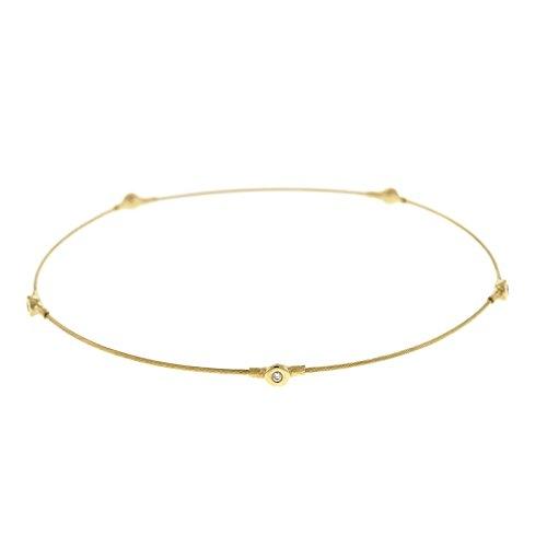 (14k Yellow Gold Wire Slip-on With Diamond Bangle Bracelet .05 Dwt)