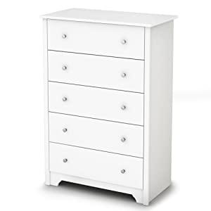 South Shore Vito Collection 5-Drawer Dresser, Pure White with Matte Nickel Handles