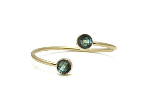 Double bezel set labradorite bracelet,gemstone cuff bracelet,gold bracelet,labradorite jewelry,bezel bracelet,open bracelet,delicate (Bezel Set Gemstone Bracelet)