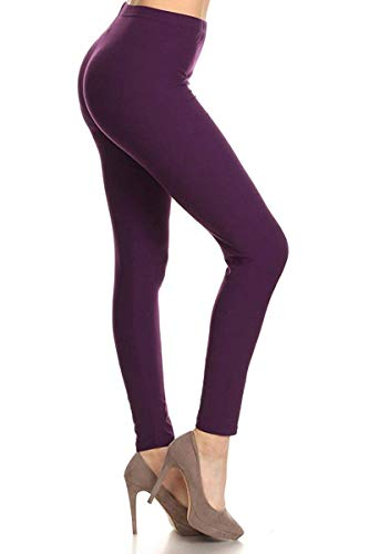 SXL128-Purple Basic Solid Leggings, Plus Size