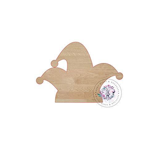 Jester Cut Out - MarthaFox Mardi GRAS HAT Jester Hat Wooden Cutout Unfinished Wooden Blanks Wooden Shapes Wooden Wreath Shapes Wooden Door Hangers Shape Blanks