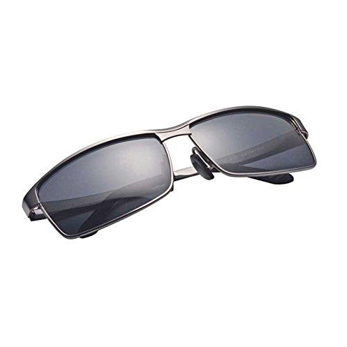 metal de transporte y gafas gris y plata lentes aleación UVB de de aluminio Ultra compuesto de inoxidable adultos UV400 acero UVA bolsa TAC Polorized de sol Premium ® 8xpaC6Z