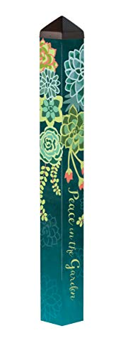 Studio M Boho Succulents Art Pole Trendy Peace Outdoor Decorative Garden Post, Made in USA, 40 Inches Tall