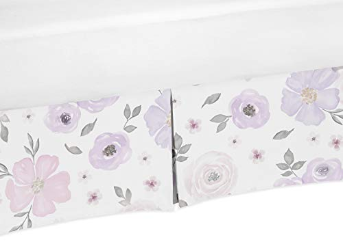 Review Of Sweet Jojo Designs Lavender Purple, Pink, Grey and White Girl Pleated Crib Bed Skirt Dust Ruffle for Watercolor Floral Collection – Rose Flower