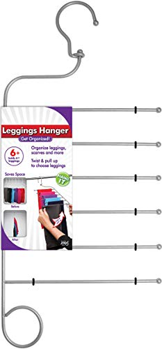 Jokari 6 in 1 Non Slip Space Saving Hanger for Leggings, Pants, Scarves and More. Maximize Storage and Hang Six Pairs of Slacks, Jeans, and Workout or Yoga Pants of Any Material Without Slipping Off.