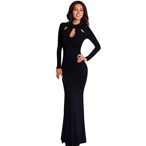 NewKelly Womens Sexy Solid Bodycon Long Sleeve Hollow Out Long Dress (S)