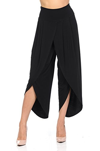 Ladybug Women's Solid Long Pants Wide Leg Palazzo Pants Fold Over Openings in Front S-Plus Sizes (Small, Black)