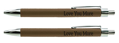 Love You More Boyfriend Girlfriend Gifts for Boyfriend Engraved Brown Leatherette 2-Pack Gift Pen Set