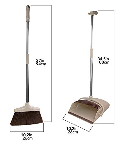 Broom and Dustpan Set [2019 Version] - Stand Up Brush and Dust Pan Combo for Upright Cleaning - Remove Hair with Built-in Wisp Scraper - Kitchen, Outdoor, Hardwood Floor & Garage Tiles Clean Supplies by Belleford (Image #5)