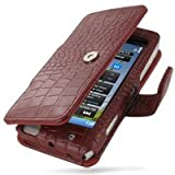 PDair Leather Case for Nokia N8 - Book Type (Red/Crocodile Pattern)