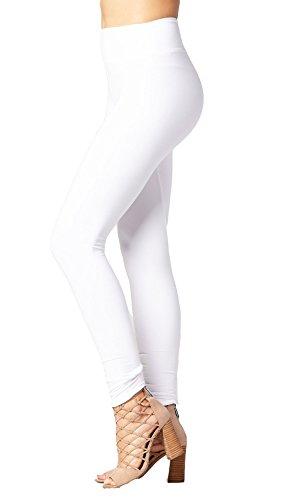 Premium Ultra Soft Wide Higher Waistband Solid Buttery Soft High Waist Leggings (Yoga Waist White, Small/Medium (White Yoga Pants)