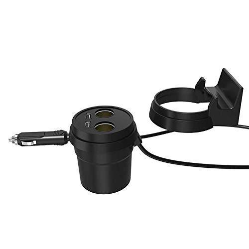 Portabicchieri per Auto con 2 Porte USB e 2 Prese accendisigari iPad Android Dashcam Techmax/® per iPhone GPS Samsung