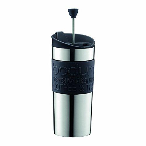 Bodum Press Set Travel mug con émbolo y Tapa Extra, Acero Inoxidable, Negro, Centimeters