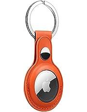 FTRONGRT Etui ochronne na AirTags, położenie etykiet lotniczych, skórzany pokrowiec ochronny, z haczykiem na klucze, bezpieczeństwo i zabezpieczenie przed zgubieniem, obudowa AirTag Pomarańczowa