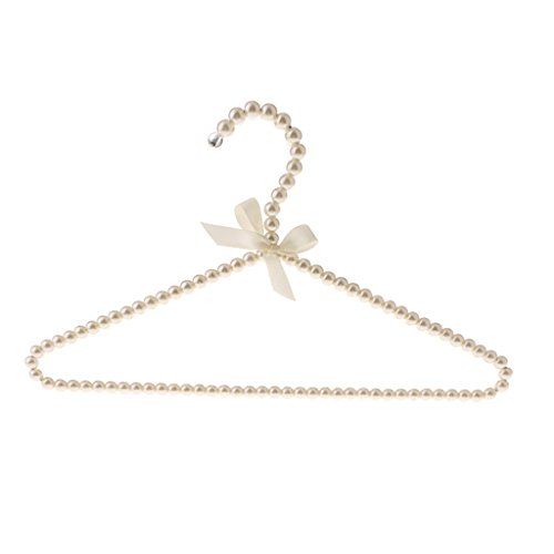 MonkeyJack 40cm Strong Metal Clothing Clothes Hangers with Pearl Beads for Home Wedding Shop Clothing Store Decoration - Champagne