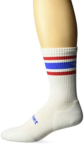 DEFEET DEVCRWTRDST301 D-Evo Crew Socks, Large, White/Red/Blue Stripes